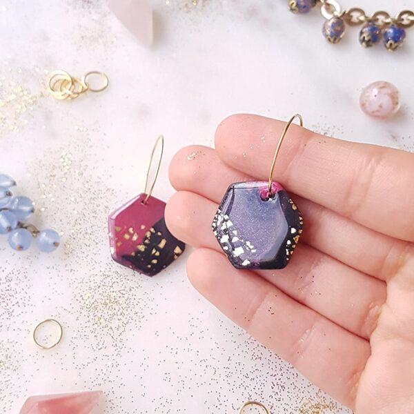 Créoles hexagone Galaxie - Azu&Joy