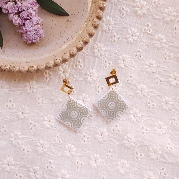 Boucles carrées à motif émeraude - Azul&Joy