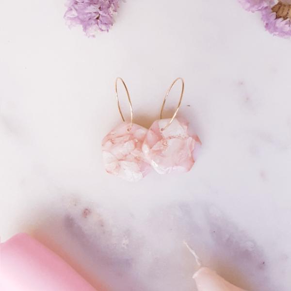 Créoles hexagone Rosa - Azul&Joy