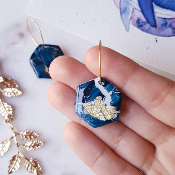 Créoles hexagone Atlantide - Azul&Joy